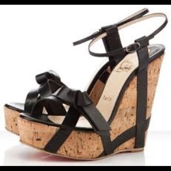 new product 61272 9950f CHRISTIAN LOUBOUTIN BLACK/CORK WEDGES S. 38